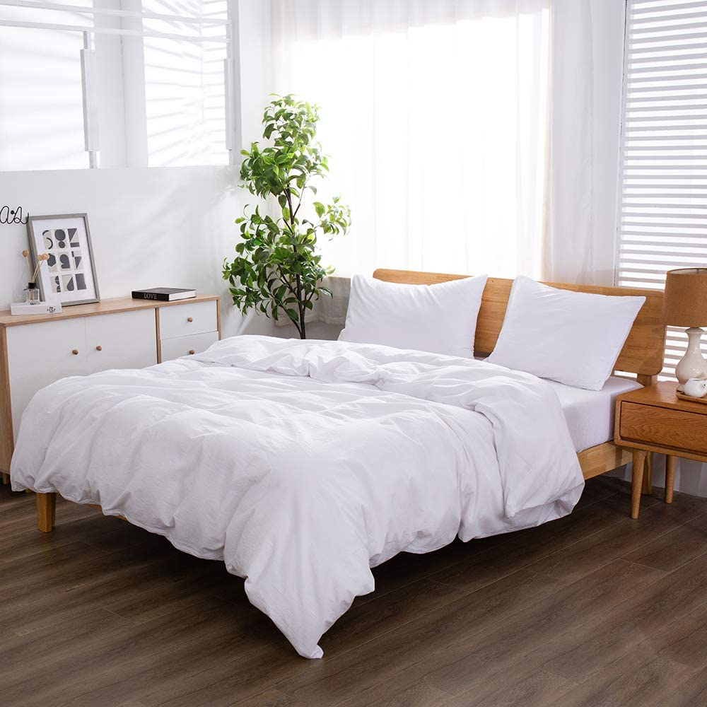 MIAN YI 100% Washed Cotton Duvet Size Ranking TOP8 Queen Columbus Mall Cover White Simple B