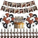 Decoraciones de Fiesta Attack on Titan Theme Party Decoration Set Attack on Titan Game Suministros de Fiesta Incluye Banner de Feliz Cumpleaños Globos Cake Topper para Niños Adolescentes Attack on Tit