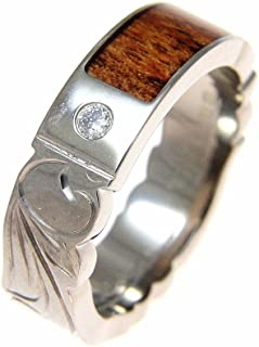 koa wood rings with diamonds
