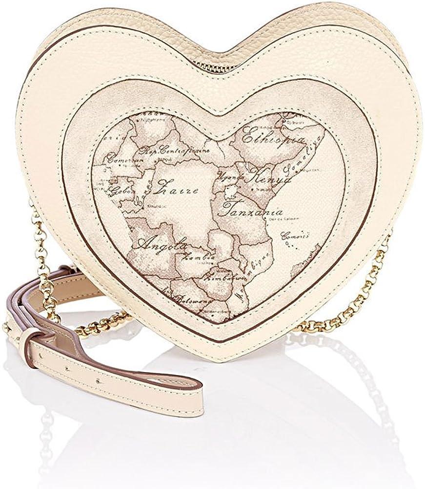 Alviero martini, borsa a tracolla da donna a forma di cuore, in tessuto stampato con cartina geografica geo cl LGH43C3980920PE17-Crema