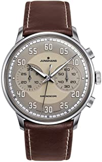 Meister Driver Chronoscope Mens Automatic Chronograph Watch - 40mm Brown Face with Luminous Hands and Arabic Numerals - Brown Leather Band Luxury Watch Made in Germany 027/3684.00