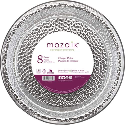 Mozaik Hammered Silver Premium Plastic 12 Chargers/Serving Platters, 8 count