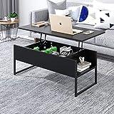 Joolihome Table basse relevable avec espace de rangement caché pour la maison et le bureau,...