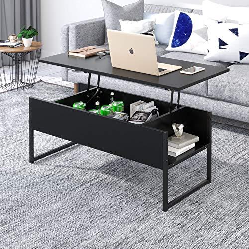Beliwin - Mesa baja elevable con gran almacenamiento oculto para escritorio de salón, color neg