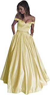 Women's Long Satin Off The Shoulder Sweetheart Prom Dress with Pocket Evening Gown
