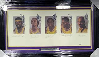 Los Angeles Lakers Legends Autographed Framed Lithograph With 5 Signatures Including Wilt Chamberlain, West, Johnson, Baylor & Abdul-Jabbar Stock #113533 - PSA/DNA Certified