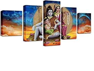 ZHFFYY Canvas Painting 5 Piece Canvas Paintings Modular Wall Art Frame 5 Pieces Shiva Parvati Ganesha Pictures Hd Prints Hindu Lord Abstract Poster Home Decor