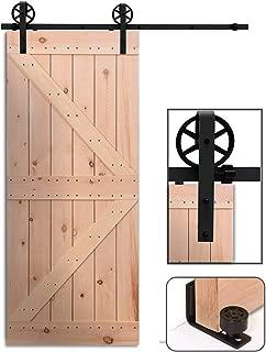 CCJH 8FT 244CM Acero Herraje para Puerta Corredera Kit de Accesorios para Puertas Correderas Juego de Piezas de Carril para Una Puerta, Rueda Grande, Con Un Regalo Gratis