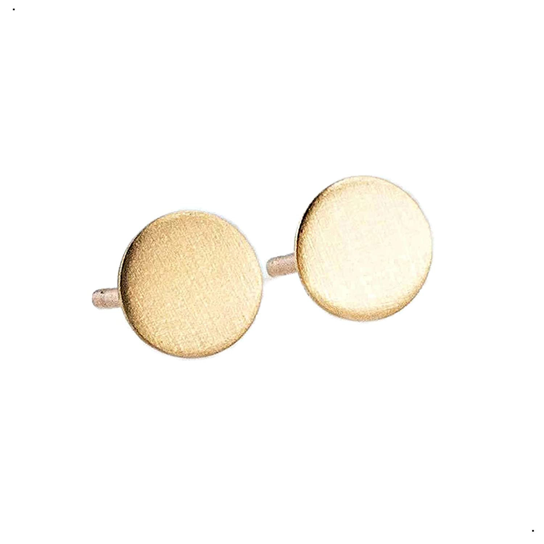 6mm Tiny Flat Disc Dot Gold Sales Matte Over item handling ☆ Filled Earrings Stud Finish
