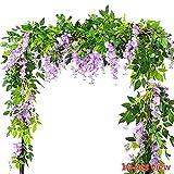 Lot de 2 lianes de fleurs artificielles suspendues Meiliy - De 2m - Glycines en imitation soie et rotin - Décoration pour maison, fête, mariage