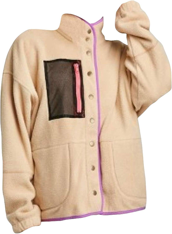 Wild Fable Women's Snap Front Faux Fur Sherpa Jacket Size L Nude Tan