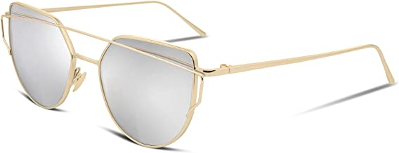 FEISEDY Cat Eye Fashion Metal Frame Mirrored Flat Lenses Women Sunglasses B2206