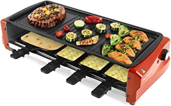 Techwood Electric Raclette Grill BBQ Grill Raclette Cheese 1600W Thermostat Control 7 Paddles Large Non-stick Grilling Surface for Raclette Party Easy Clean(Delicious red)