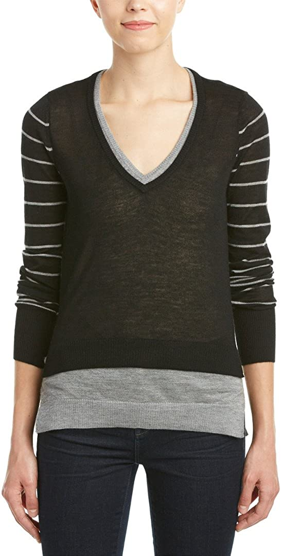 Joe's Jeans Magdelena Sweater Luxe Cashmere Pullover, Black/Heather Grey