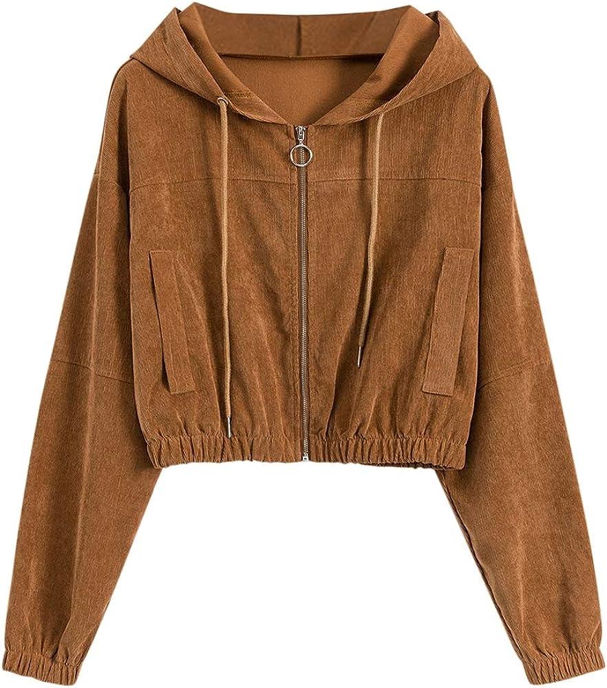 ZAFUL Women's Corduroy Cropped Jacket Full Zip Drop Shoulder Coat with Pocket