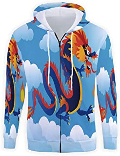 Mens Hoodies Full Zipper,Dragon Hooded Sweatshirt