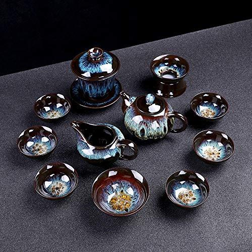 Ceremonia del té caja de regalo horno flujo variable arena oro cerámica juego de té juego de té hogar taza de té tetera creatividad semiautomática completa-Bote de belleza de 12 cabezas-arenas movedi