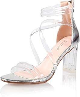 JSUN7 Women's Fashion Clear Instep Zip Open Round Toe Summer Clear Chunky Block High Heel Sandal Pump Shoe
