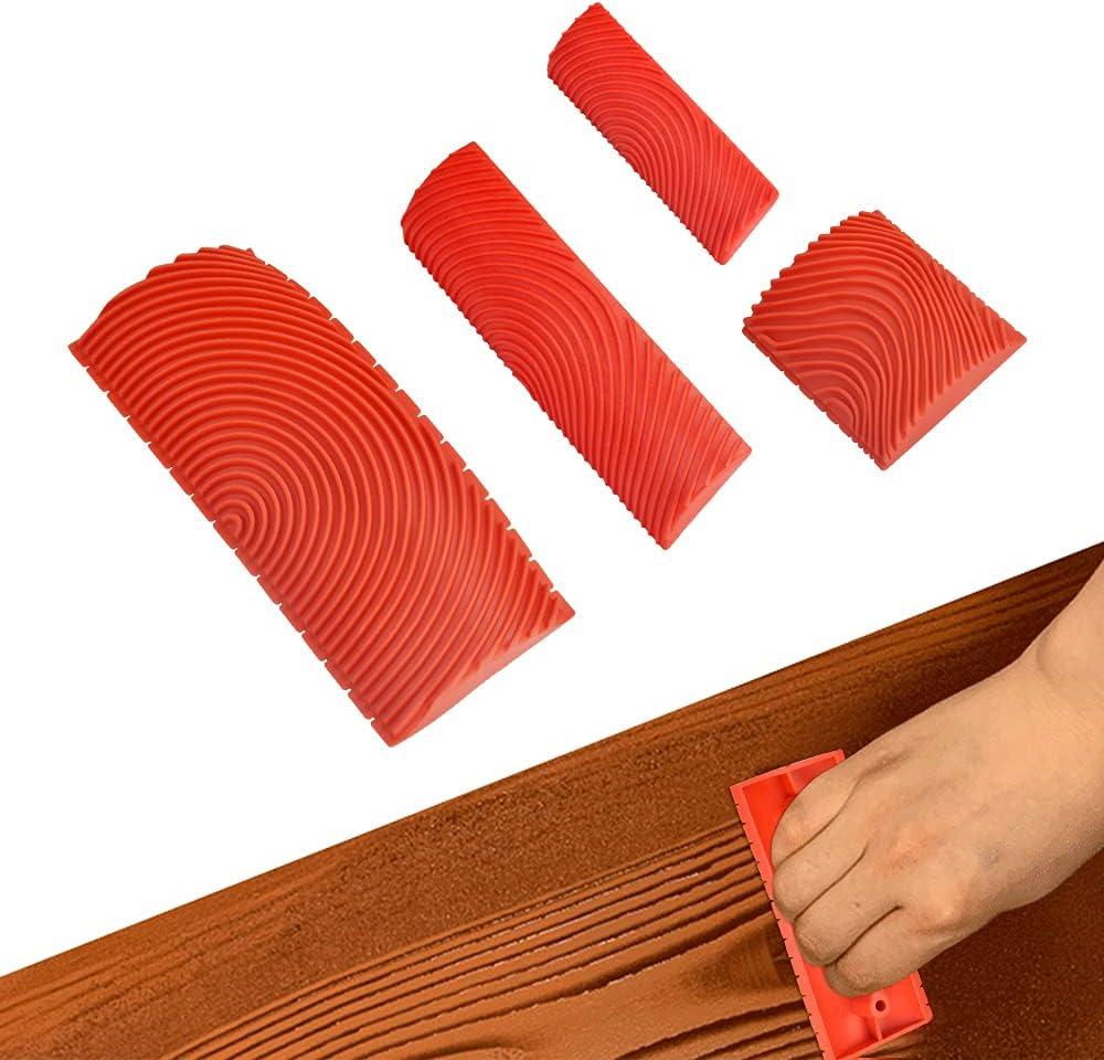 WENRERO 4 PCS Herramienta de Madera Granulada de Goma de 4 Tamaños Herramientas de Pintura de Goma de Madera Rodillo de Pintura de Grano de Madera Veteador Efecto Madera Para Decoración (Rojo)