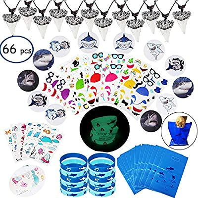 Shark Party Favor Supplies Pack -Shark Tooth Necklace Tattoo Sticker Shark Gift Bag Shark Bracelet Pin Back Button for Kids Under the Sea/Birthday/Goody Bags (66 pcs/set)