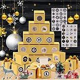 24 Calendario de Adviento, Calendario Adviento Navidad, Cajas para Calendario de Adviento DIY, Calendarios de Adviento con 2 hojas 1-24 Adhesivos Digitales de Adviento 24 Cajas de Regalo Navidad (oro)