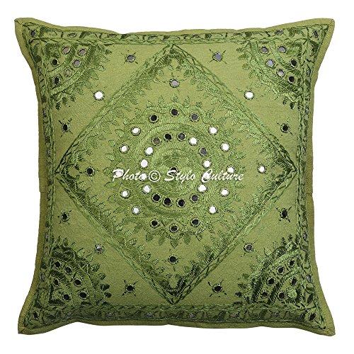 Stylo Culture Housse de Coussin Indien Miroir Brodé Coton Taie d'oreiller Couverture Vert 16x16 Taie d'oreiller De Salon Abstrait