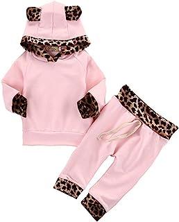 Best 2Pcs Cute Newborn Baby Girls Pink Leopard Hoodie T-Shirt Top + Pants Outfits Set Review