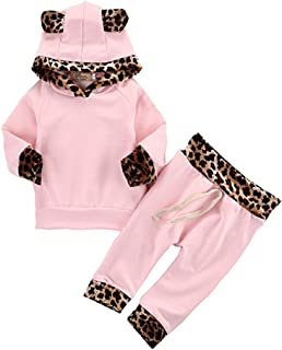 2Pcs Cute Newborn Baby Girls Pink Leopard Hoodie T-Shirt Top + Pants Outfits Set