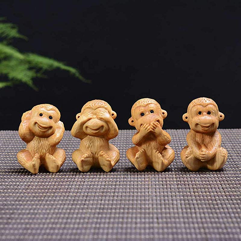 QAZSDF Crafts Monkey Creative Jewelry Wood Carving Work Crafts Living Room Office Dining Table And Bar Table Decoration