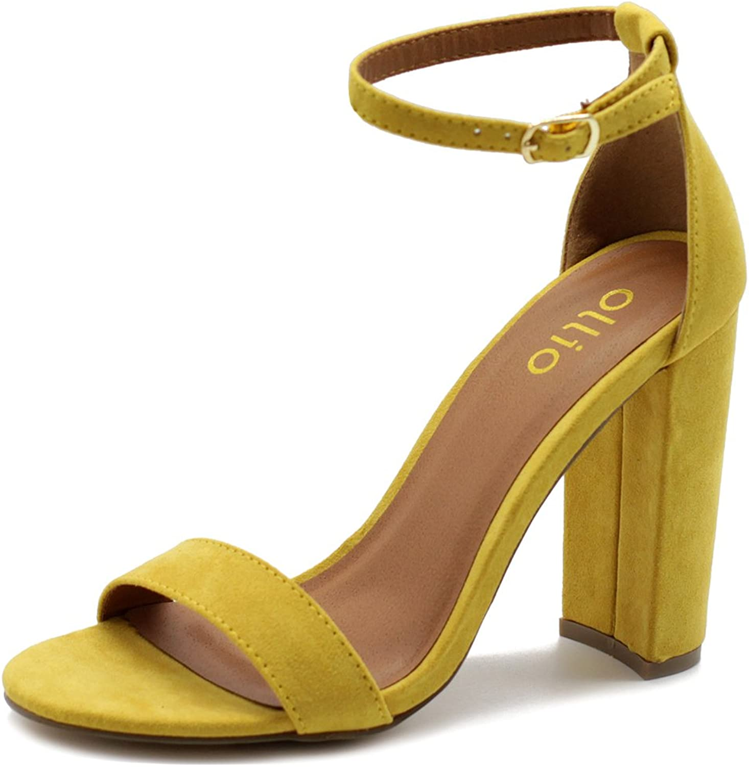 Ollio Womens shoes Faux Suede Simple Ankle Strap Chunky High Heel Sandals