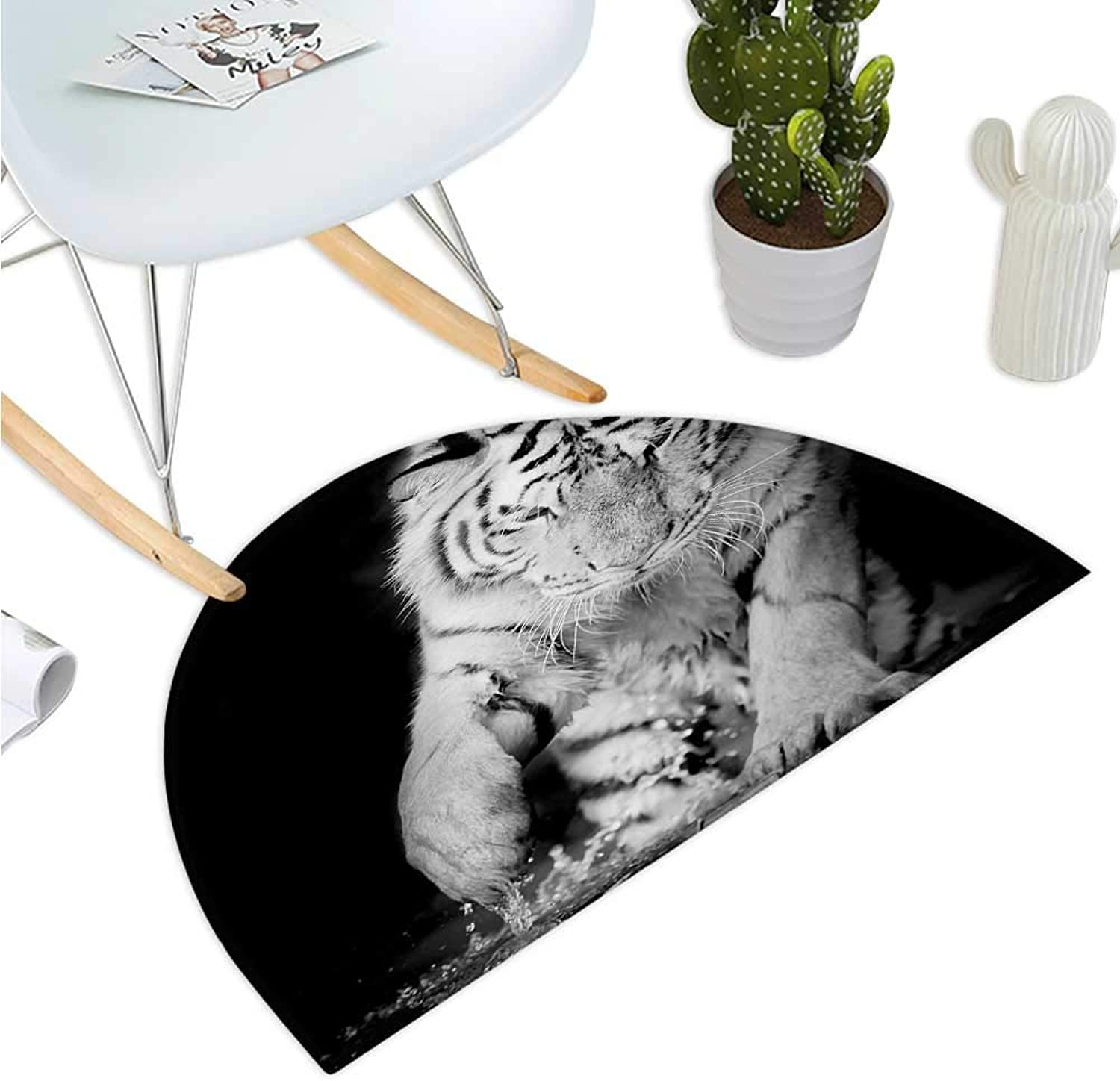 Tiger Semicircle Doormat Black and White Image of Large Cat Playing with Water Cool Animals Fun Hunter Entry Door Mat H 35.4  xD 53.1  Black Pale Grey