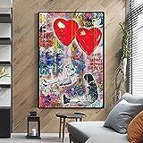 Pinturas En Lienzo Abstract Street Love Is In The Air Graffiti Art Wall Art Posters E Impresiones ImáGenes DecoracióN Para El Hogar 70x100cm Sin Marco