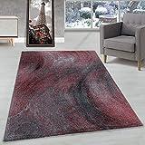 Carpettex Teppich Tapis à Poil Ras Tapis de Salon Marbré Motif Flou Poil Souple Rouge, Couleur:Rouge, Dimension:160x230 cm