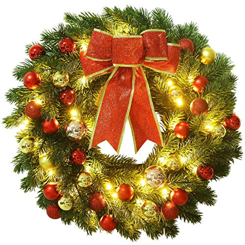 Lulu Home Pre-lit Christmas Wreath with Hook, Battery Operated Christmas Wreath Decorative Hanging Ornament, Artificial Door Wreath Clear LED Lights, Hook Included (16 Inch)