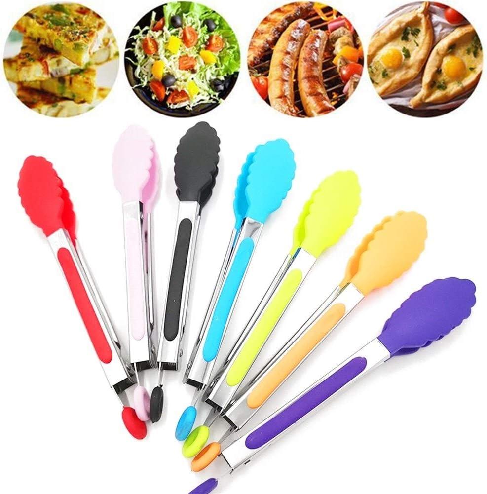 WeiCYN Cuisine Silicone en Acier Inoxydable tenailles BBQ Clip Salade de Pain La Cuisson des Aliments au Service Outils Cuisine tenailles (Color : Blue) Pink