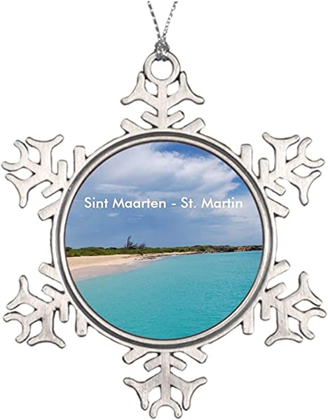 DoreenAbe 3 Ornament Metal Snowflake Ornament Tree Branch Decoration Sint Maarten St Martin Beach Scene Personalized Family Christmas Snowflake Ornaments Caribbean Island Keepsake Gift