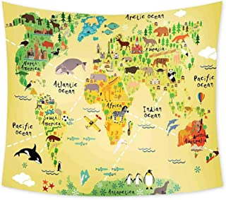Luoiaax Kids Decor Hippie Tapestry Wall Hanging Educational World Map Africa America Penguins Atlantic Pacific Ocean Animals Australia Panda Wall Tapestry Bohemian Decor W62.8 x L62.8 Inch