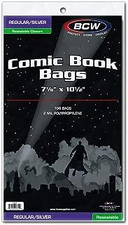 BCW Resealable Silver/Regular Comic Book Bags, Clear 2-mil Polypropylene | 7-1/8