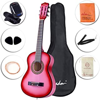 ADM Beginner Classical Guitar 30 Inch Nylon Strings Wooden Guitar Bundle Kit with Carrying Bag & Accessories, Pink