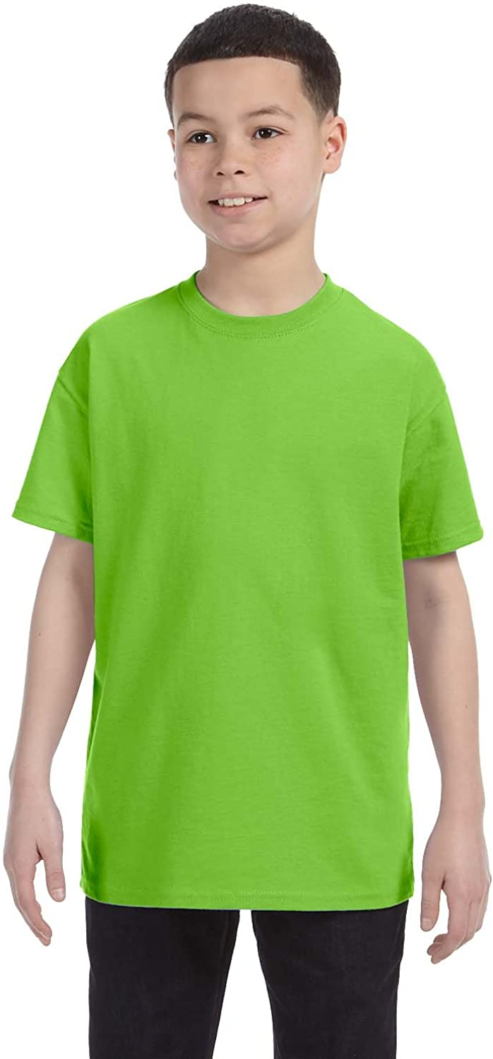 Hanes Youth Lay Flat Collar Tagless Cotton T-Shirt, Lime, Large