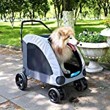 COMICA1 Dog stroller for large pet jogging carts for 2 dogs. Breathable animal stroller with 4...