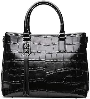 Fashion Simple Multi-Function Large Capacity Shoulder Bag Shoulder Slung Leather Handbag (Color : Black)