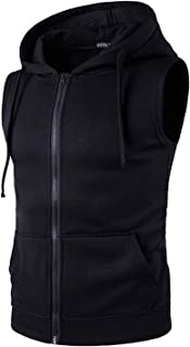 STTLZMC Men's Casual Sleeveless Lightweight Fleece Athletic Zipper Hoodie Sports Sweatshirts