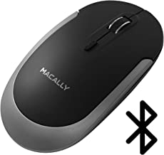 Macally Silent Wireless Bluetooth Mouse for Apple Mac or Windows PC Laptop/Desktop Computer - Slim & Compact Mice Design with Optical Sensor & DPI Switch 800/1200/1600 - Small for Easy Travel, Black