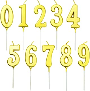 obmwang 10 Pieces Birthday Numbers Candles Gold Glitter Cake Numeral Candles Number 0-9 Glitter Cake Topper Decoration for...