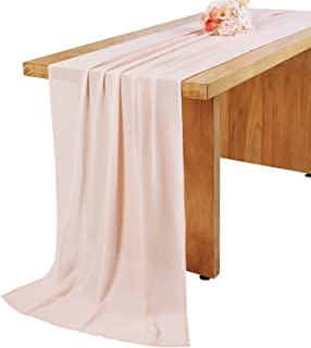 Woowland 27 x 168 Inch Blush Pink Chiffon Wedding Table Runner, Extra Long 14FT Light Pink Tablecloth Table Overlay, Rustic Wedding Bridal Shower Baby Shower Party Table Decorations