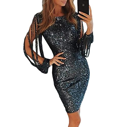 FIYOTE Womens Sexy Sequins Tassel Sleeve Bodycon Party Cocktail Midi Dress