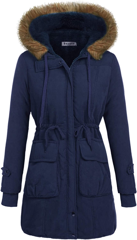 Beyove Women's Winter Faux Fur Lined Parkas Hooded Drawstring Coat Navy Blue L