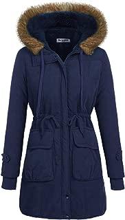 Women Winter Coats Military Hooded Warm Faux Fur Lined Jacket Parka Anroak Long Coats S-XXL