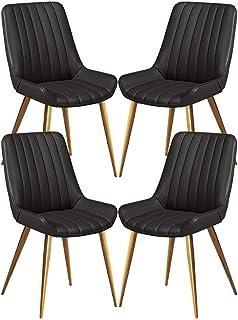 ZCXBHD Sillas Comedor Cocina Patas Metal Oro Sillas Contador sillas recepción Sala de Cuero Salón Ocio Esquina Sillas PU con el Conjunto Respaldo de 4 Piezas (Color : Black)